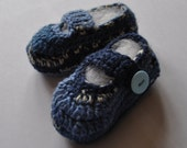 Dark & light blue baby booties - crocheted with button fastening - size 3 to 6 months