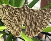 Ginkgo leaf ornament / pendant with sewn brown ginko leaf veins, upcycled billboard , made to order