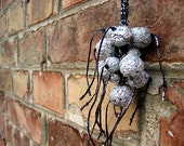 Necklace, choker necklace, Recycling upcycling aluminum foil candy wrapper balls, globes, spheres, recycled, upcycled, OOAK