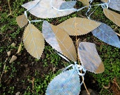 Leaf garland from recycled, upcycled billboard with light blue leaf veins, FREE SHIPPING