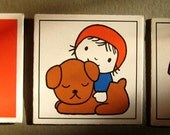 "Vintage Dick Bruna memory card fridge magnets ""mum & baby - little red riding hood - toadstool"", set of 3 , FREE SHIPPING"