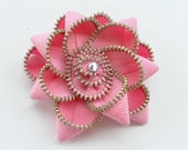 Zipper  Brooch pink/ Zipper Pin flower  - Approx 2.8 in/ 7 cm- eco friendly, recycled jewelry