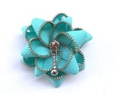 Unique gifts, zipper brooch, cyan flower, gift ideas, Zipper Pin. 2.8 in/ 7 cm,eco friendly, recycled jewelry