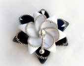 Gift for her, zipper brooch, black and white flower,  Zipper Pin. 2.8 in/ 7 cm,eco friendly, recycled jewelry