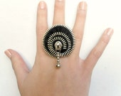 Unique gift, Zipper ring, Black ring, plated silver ring . YKK Zipper-Ring is adjustable. eco friendly, recycled jewelry