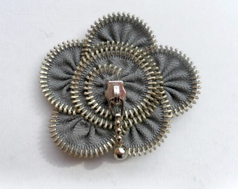 Uniqie gif for her, flower brooch, hair , zipper pin. approx 2,8 in/ 7cm.gray