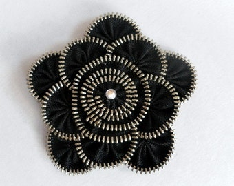 Fabric brooch, Black zipper broach, Gift ideas for woman, Zipper Pin. Approx 3.2 in/ 8 cm. eco friendly, recycled jewelry