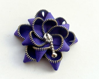 UNIQUE GIFT for her, zipper flower brooch, purple flower Pin. 2.8 in/ 7 cm,eco friendly, recycled jewelry, Zipper jewelry