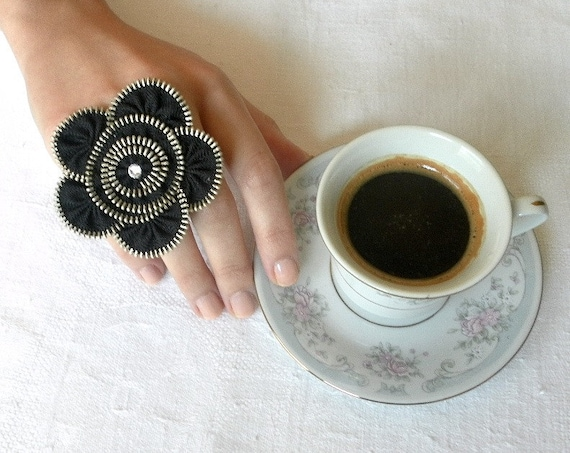 Unique gift, Zipper ring, black flower,plated silver ring .YKK Zipper-Ring is adjustable.eco friendly, recycled jewelry