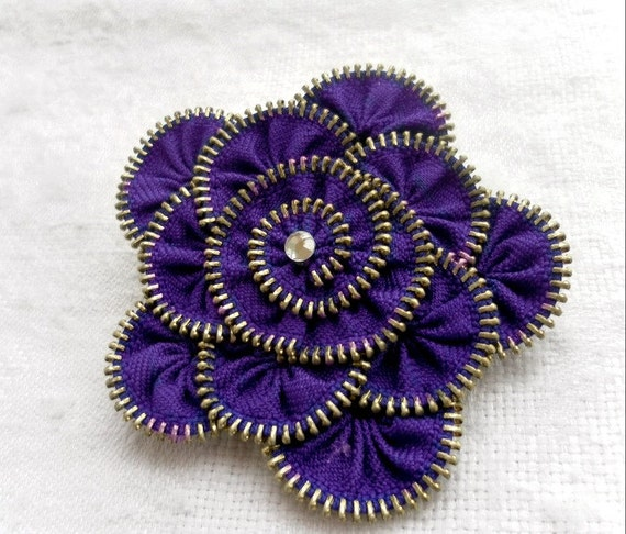 Flower Brooch, indigo blue ,Zipper Pin. Approx 3.2 in/ 8 cm.- eco friendly, recycled jewelry
