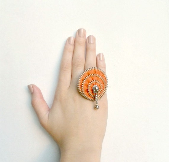 Gift for her, zipper ring, orange, plated silver ring .YKK Zipper-Ring is adjustable. eco friendly, recycled jewelry