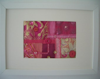 Textile Collage - Hot Pink Original Hand Sewn Wall Art