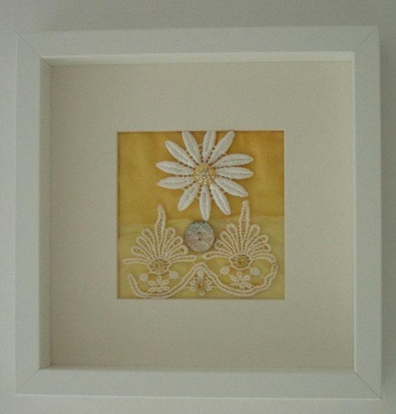 Sunshine Daisy Floral Textile Picture - A Wonderful Present