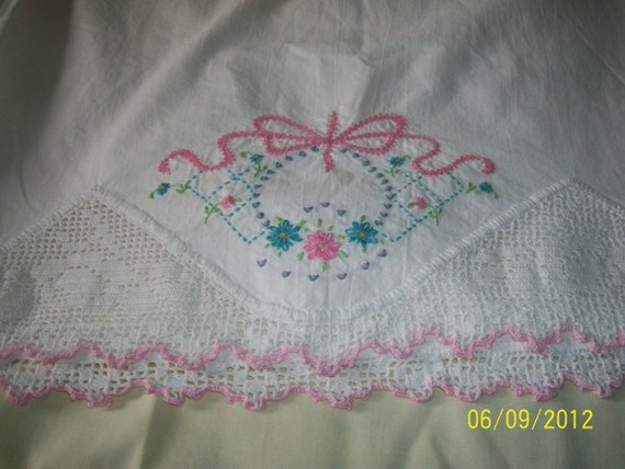 Vintage Embroidered and Crocheted Pillowcase