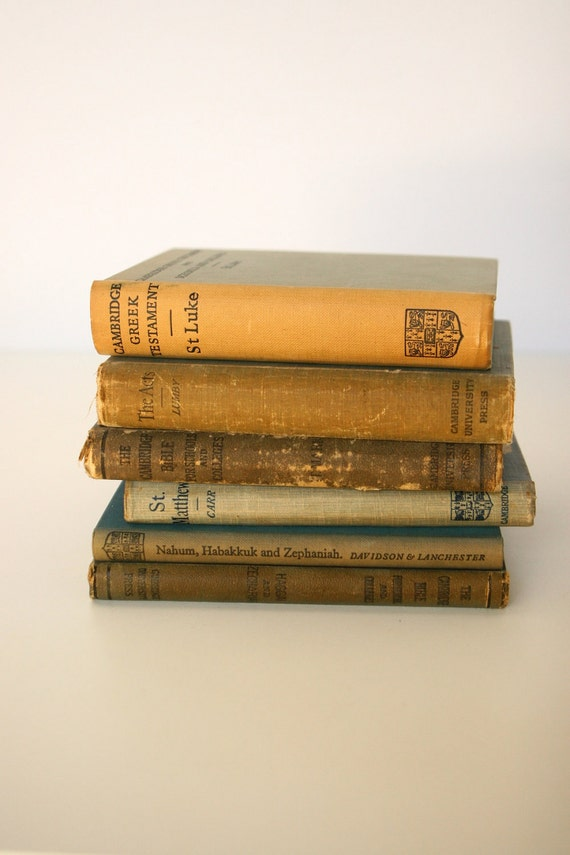 Vintage books, Cambridge Bible 1900, Blue, Tan, Brown, Decorative Books Set of 6, Library