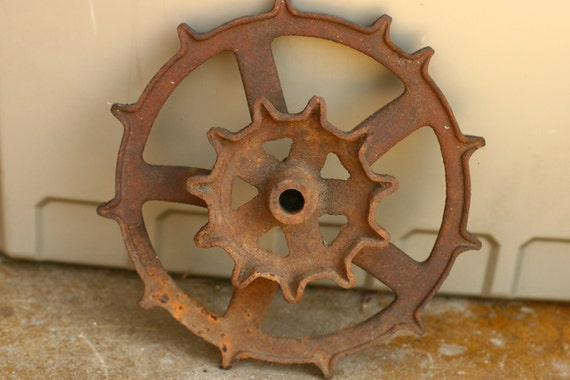 FINAL SALE - Vintage Tractor Gear, Industrial Decor, Wedding Decor, Garden Decor
