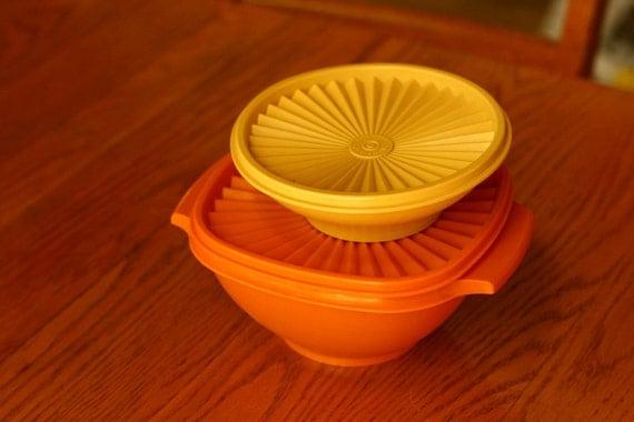 Vintage Tupperware, Orange and Yellow Tupperware