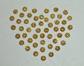 Artisan Bali Vermeil Daisy Spacers, 24k gold over 925 Sterling Silver, 4.2 x 1 mm, 10 pieces (DS4003VM)