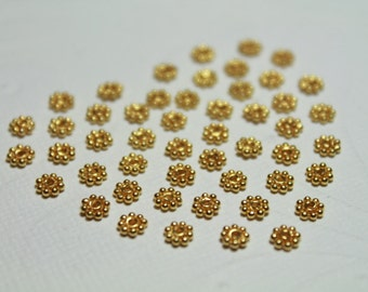 Artisan Bali Vermeil Daisy Spacers, 24k gold over 925 Sterling Silver, 4.2 x 1 mm, 50 pieces (DS4003VM)