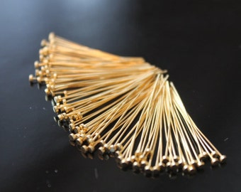 Beautiful Vermeil Flat Headpins, 24k gold over 925 Sterling Silver, Pins, Flat pins, 26 gauge, ga, g, 25mm, 50 pcs (FP2625VM)