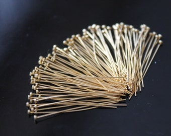 Beautiful Vermeil Flat Headpins, 24k gold over 925 Sterling Silver, Pins, Flat pins, 26 gauge, ga , g, 30mm, 50 pcs (FP2630VM)