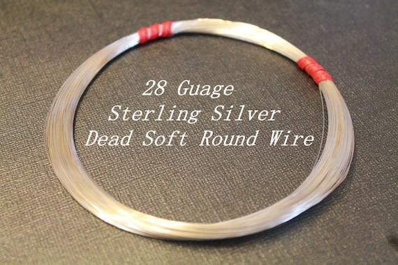 28 g ga Gauge Sterling Silver Wire - Round - Dead Soft - 10 ft