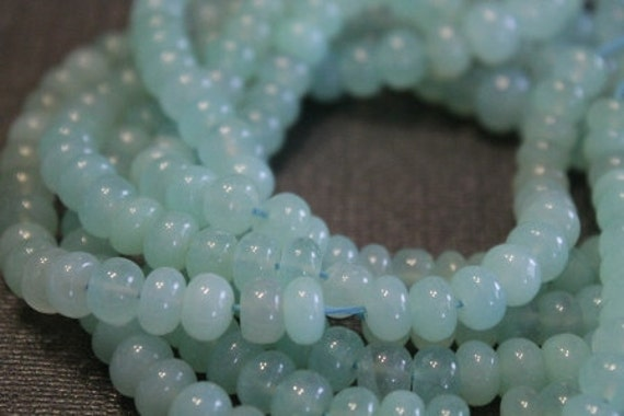Aqua Blue Chalcedony Smooth Polished Large Rondelles, 7.5 mm, 4 inches (GM0701SR)