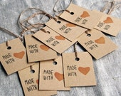 10 handmade 'Made with Love' stamp Labels