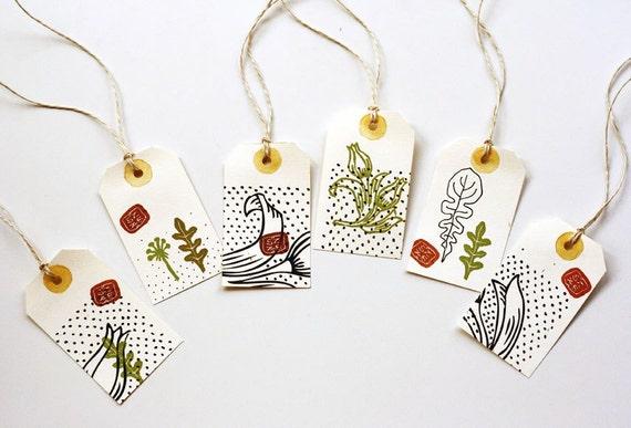 50% OFF 6 handmade Herbarium Labels