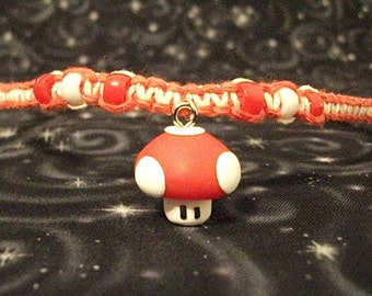 Red and White Hemp Necklace with Polymer clay Mario Super Mushroom and Accent Beads