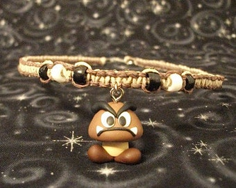 Brown and Natural Hemp Necklace with Polymer Clay Goomba Charm and Accent Beads