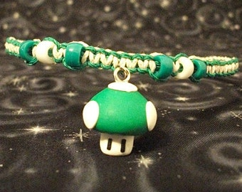 Green and White Hemp Necklace with Polymer Clay Mario 1-Up Mushroom and Accent Beads