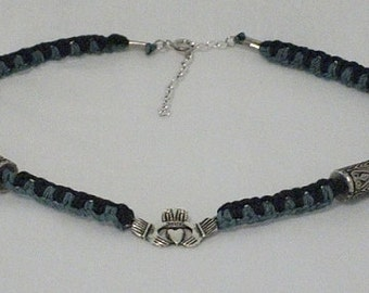 Forest Green and Black Hemp Necklace with Irish Claddagh Center Charm and Pewter-Look Accent Beads