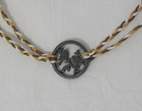 Ochre, Brown, And White Braided Hemp Necklace With Birds in Tree Pendant