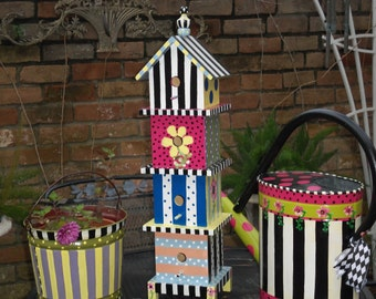 Whimsical French Farmhouse Style OOAK 4 story Hand Painted Decorative Bird House