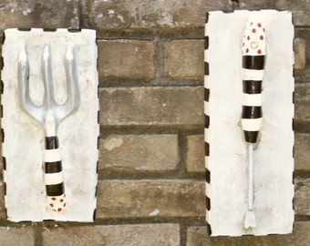 Whimsical French Market Style Concrete Garden Wall Plaques Hand Painted Striped Tools OOAK