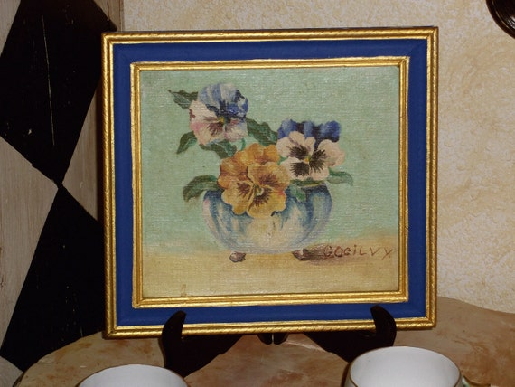 Vintage 1959 Floral Signed Oil Painting Hand Painted Frame