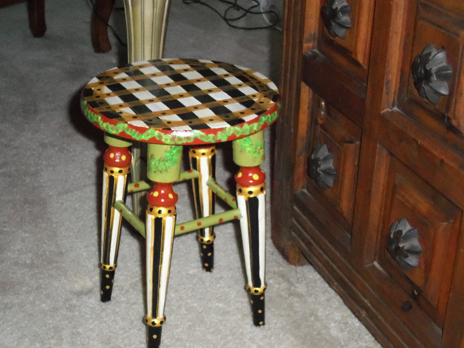 Whimsical hand painted stool one of a kind furniture for Hand painted furniture