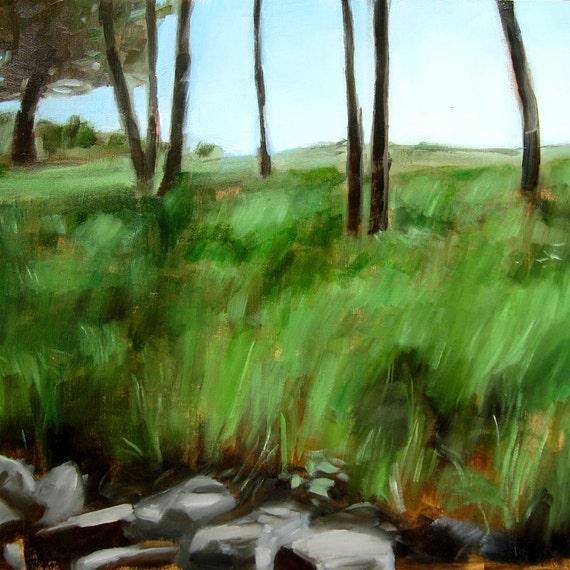 "Oil Painting Landscape Fine Art Original Small Gift Grass ""Broadwood Field (no.65)"""