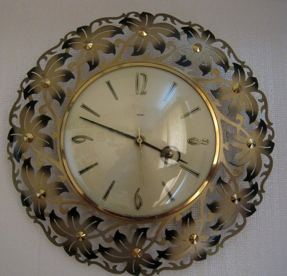 Metamec Wall Clock Metal Flowers Kienzle Battery Movement