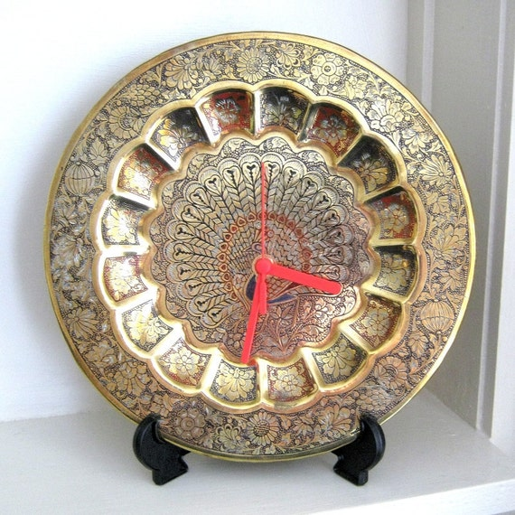 Wall Clock Recycled Brass Peacock Decorative Plate