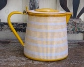 French Enamelware yellow stripe syrup pitcher