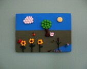 Polymer Clay Nature Scene 3D Wall Art