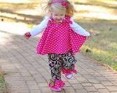 Fall 2 pc Circular Top and pants Custom 0-3 mos,3-6 mo, 6-9mo , 9-12 mo,18 mo baby/girl/toddler/christmas/infant/photoprop