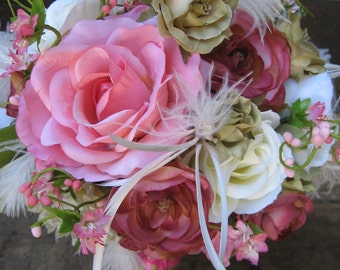 WEDDING BOUQUET - Keepsake Silk Rose and  Calla lily with Feathers, Personalized Charm and Custom Fabric Handle