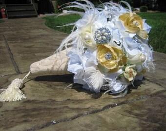 WEDDING BOUQUET Keepsake Brooch with White/Cream Roses, Hydrangeas, Feathers, Brocade Fabric Handle & Tassel