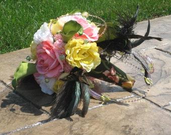 WEDDING BOUQUET - Keepsake Silk Flowers, Roses, Peonies, Feather Bouquet - Custom Handle & Personalized Charm