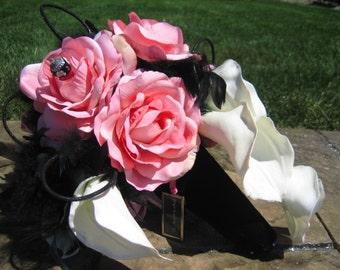 Pink Silk Rose Bridal Bouquet White Calla Lillies Black Feathers Enamel Beads
