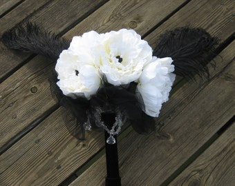Silk White Peony Wedding Bouquet Keepsake Beads Black Feathers Crystal