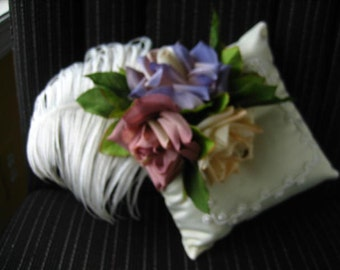 LITTLE PRINCE Satin Ringbearer's Pillow - Ivory Satin with Mauve, Lavendar and Peach Roses with Feather and Leaves
